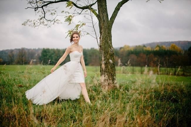 bride running in field