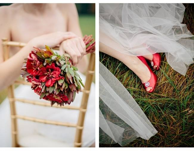 elegant red wedding bouquet and heels