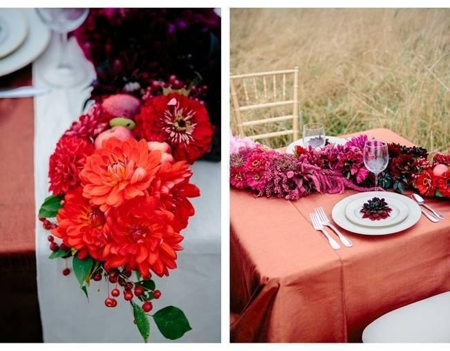 orange and pink fall wedding