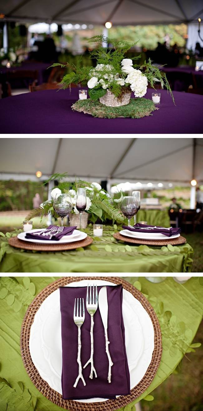 green and purple woodland wedding table