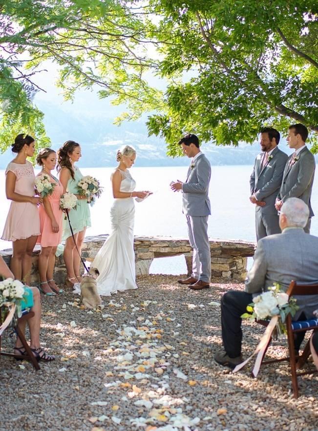 outdoor wedding ceremony with dog