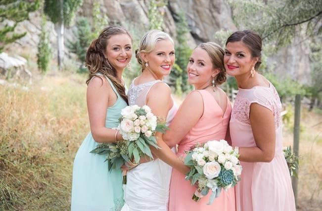 pink coral aqua bridesmaid dresses