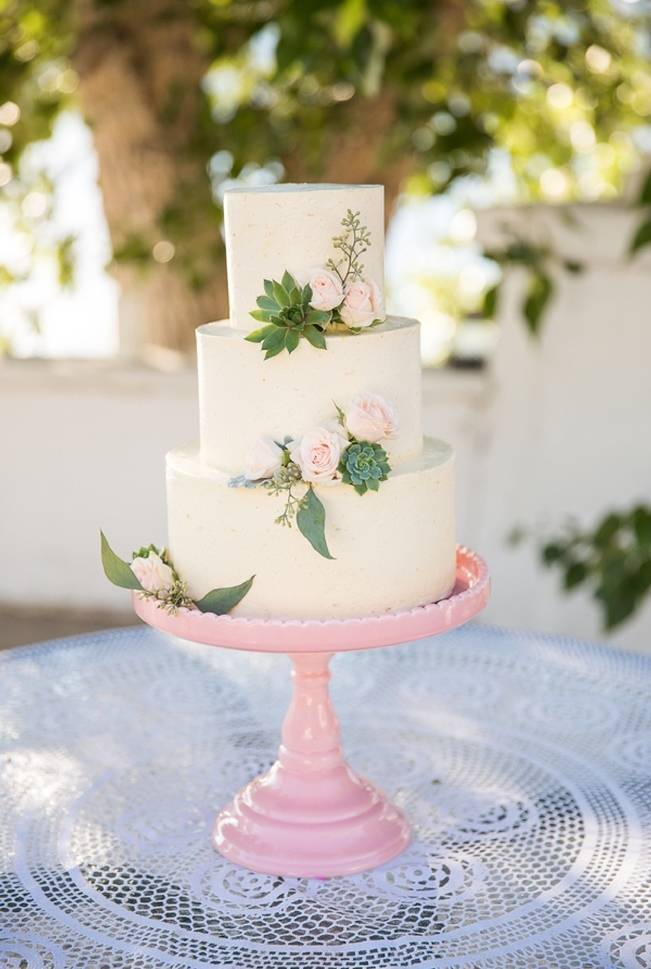 pink and green succulent cake