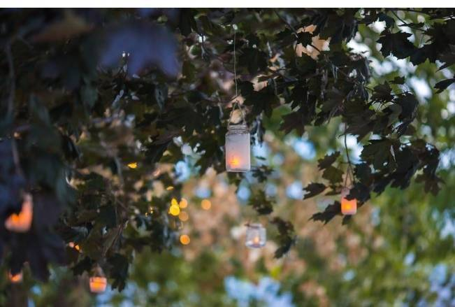 tea lights in trees - outdoor wedding lighting