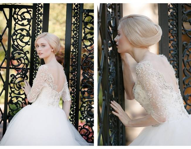 fairytale ball gown wedding dress with lace sleeves