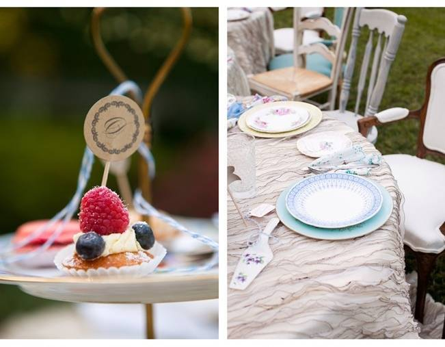 vintage mismatched plates and teacups