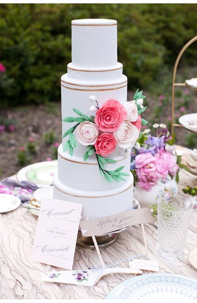 garden wedding cake with pink sugar flowers
