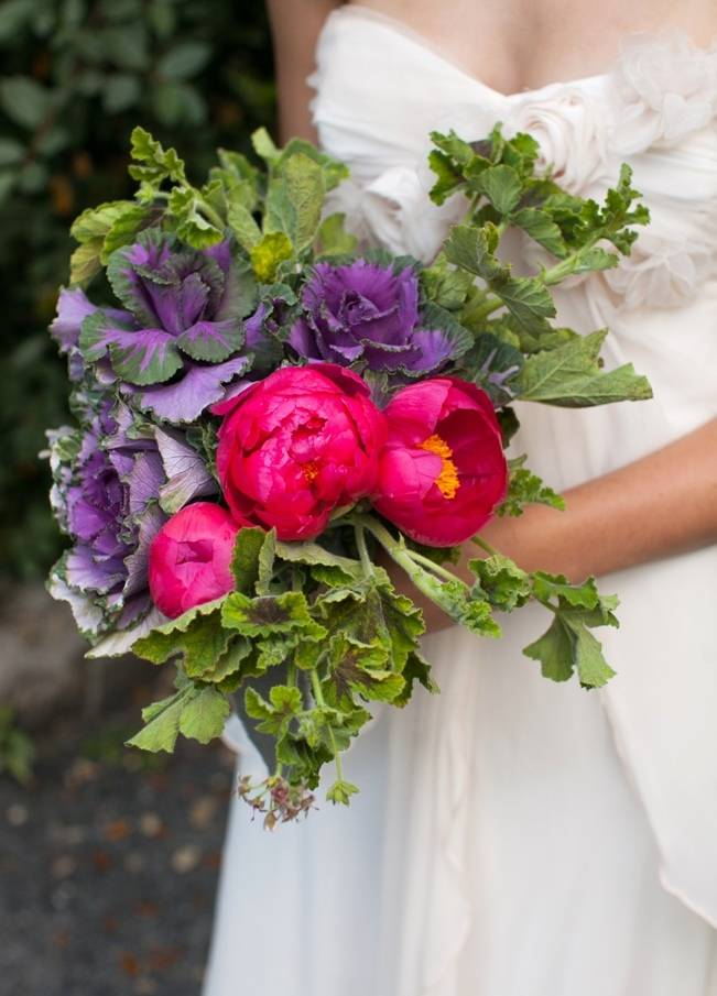 magenta peony and purple kale bouquet