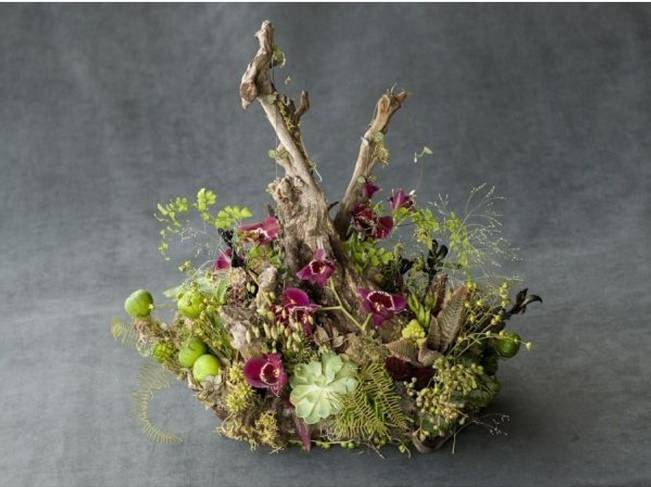 wild branch and moss woodland centerpiece