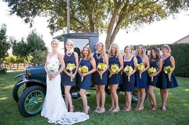 vintage rustic navy blue bridesmaids