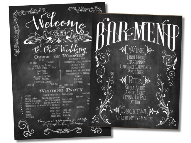 chalkboard style wedding menu