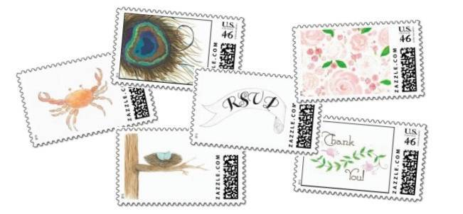 custom postage for wedding stationery