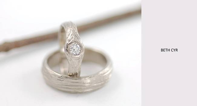 tree bark inspired engagement ring