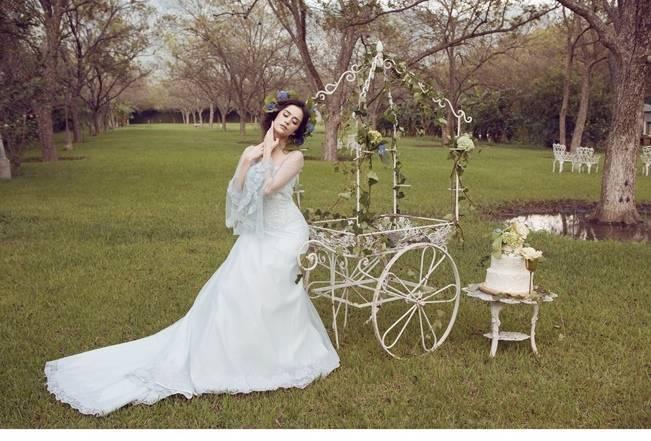 light blue barely blue wedding dress