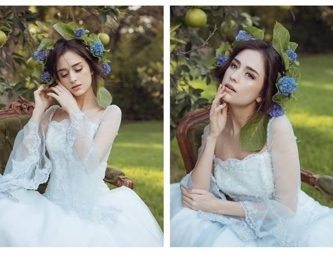 lightest blue wedding dress
