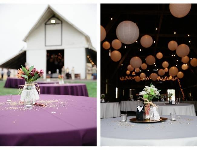 wedding barn filled with paper lanterns