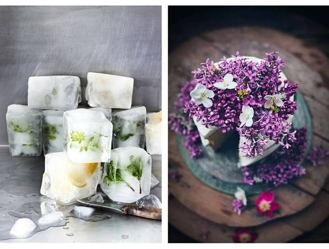 ice cubes with edible flowers, lilac cake