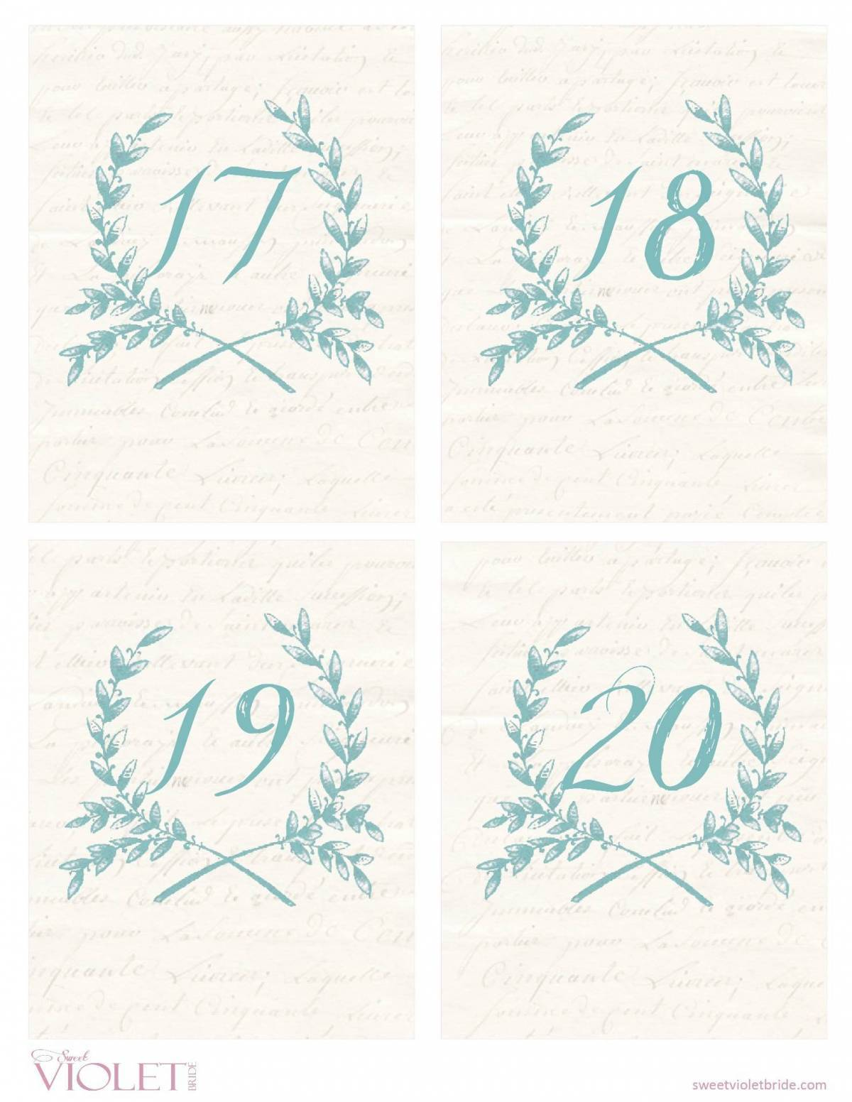 Wheat Wreath Table Numbers Free Wedding Printable