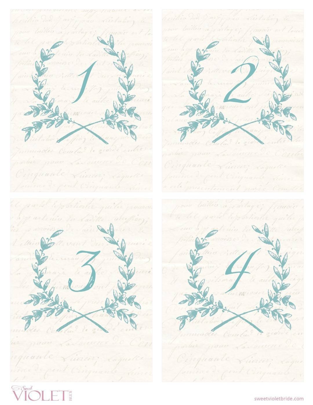 Wheat Wreath Table Numbers: Free Wedding Printable