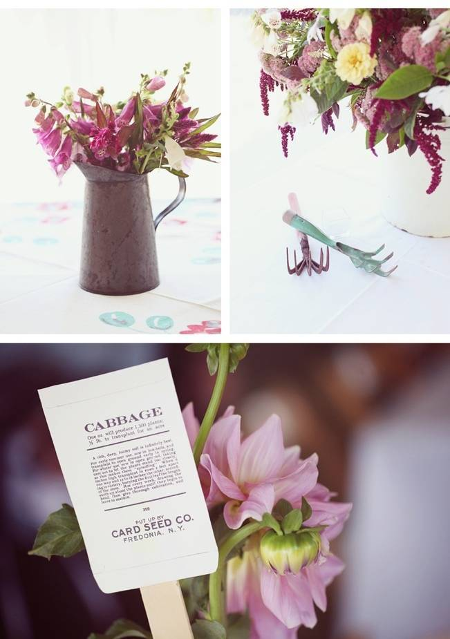 rustic garden seed packet centerpieces