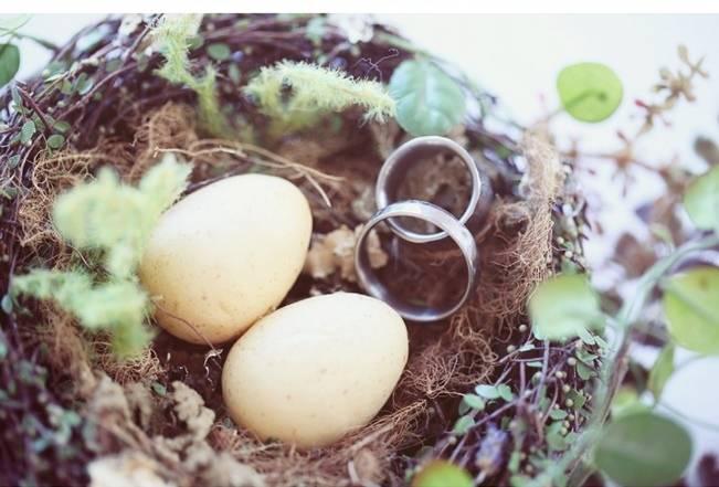woodland birds nest wedding ring pillow holder