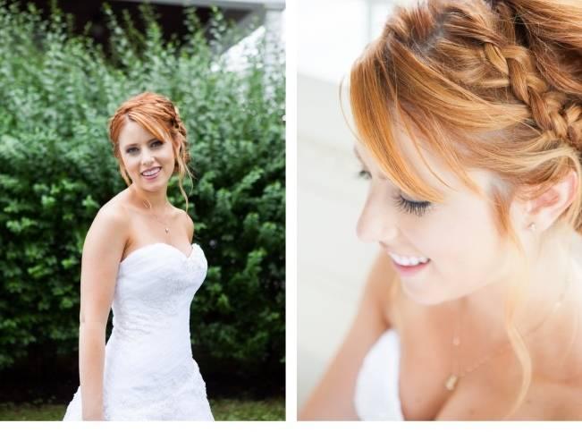 red hair bride with braid crown