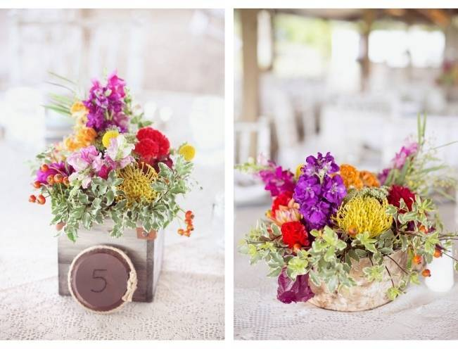 purple red yellow rustic centerpieces