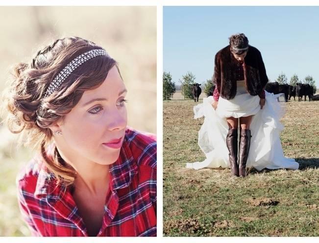 bride wearing plaid shirt