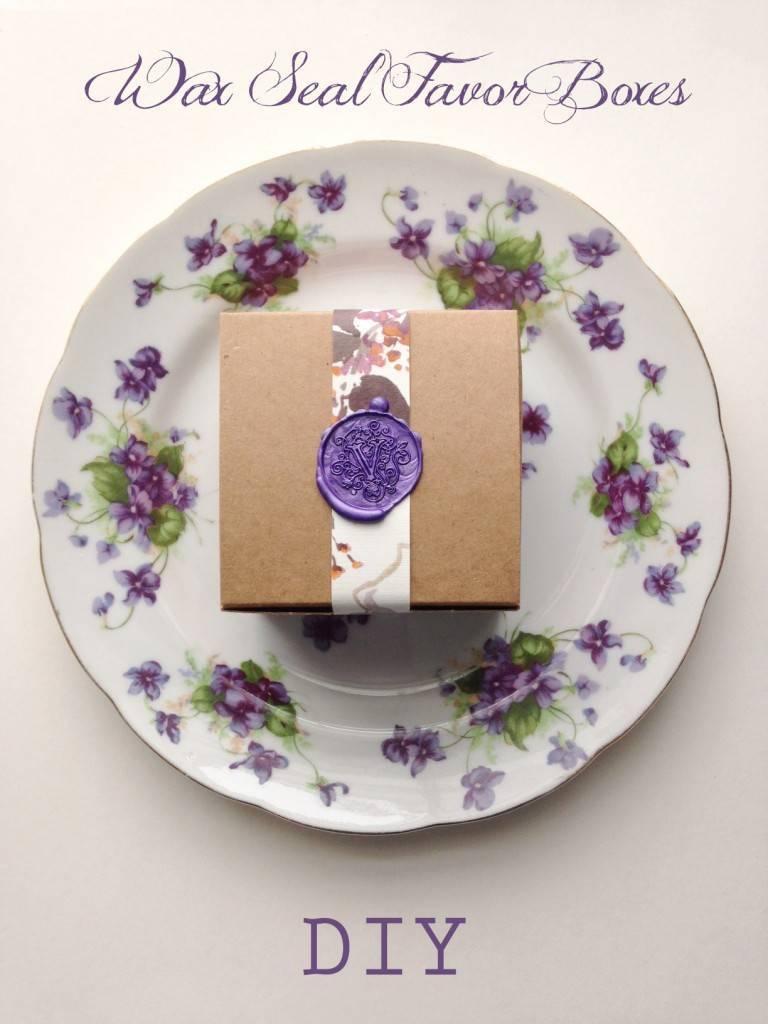 purple wax seal floral favor boxes
