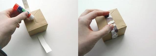glue strip of paper  around box