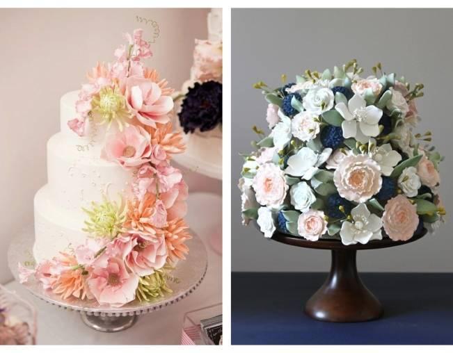 13 Inspiring Sugar Flower Wedding Cakes 4