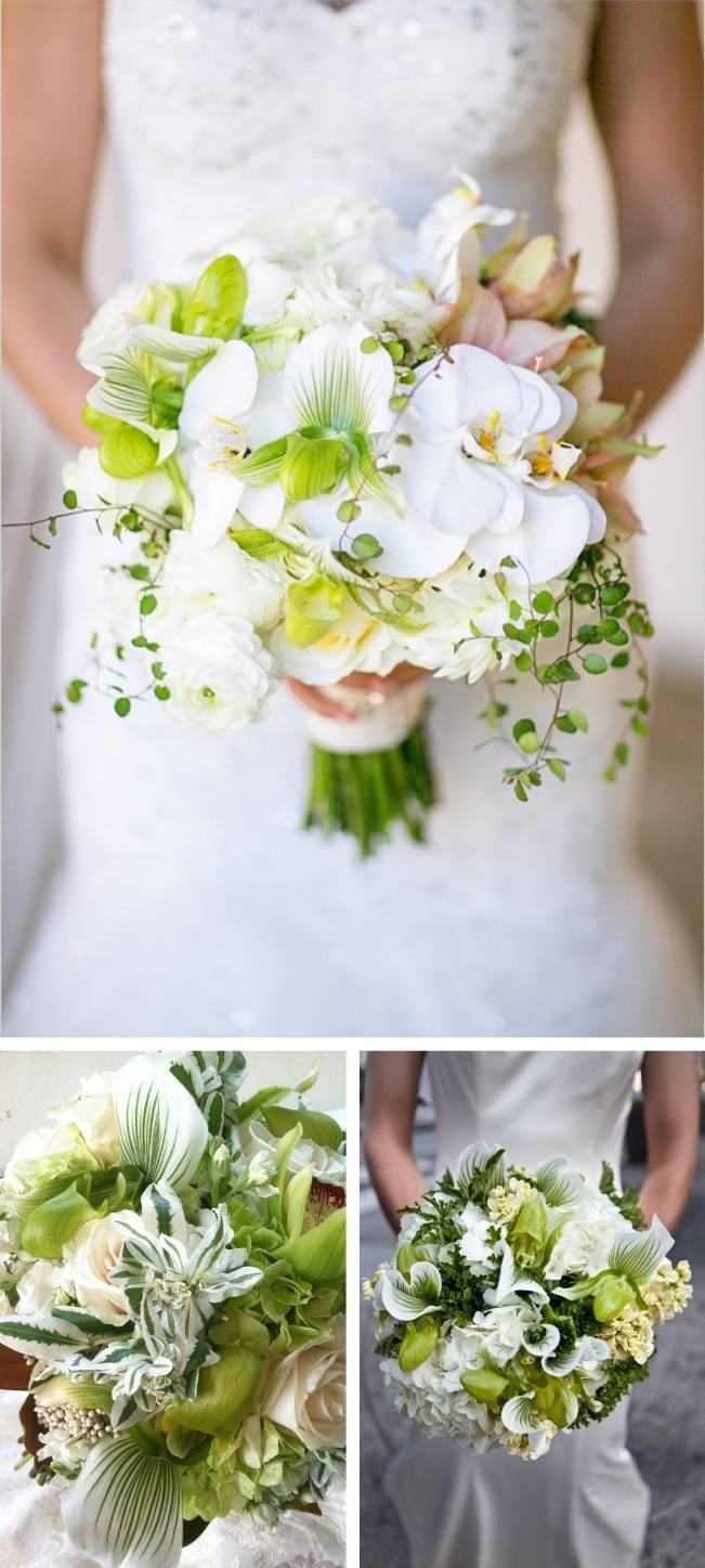 Striped Green Lady Slipper Orchid Bouquet