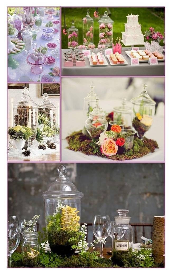 Inspiration for Rustic Vintage Centerpieces with Milk Glass Vases and Apothecary Jars