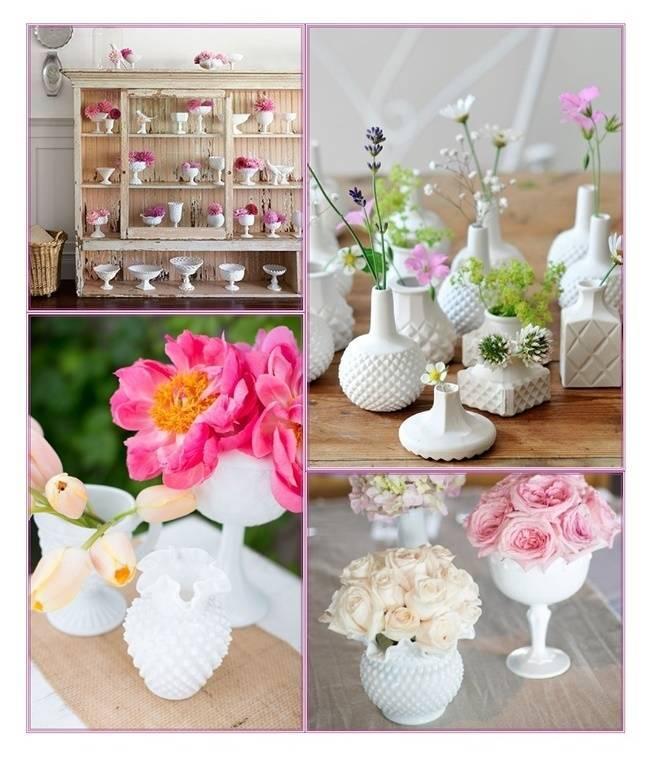 Ideas for Vintage Milk Glass Wedding Centerpieces