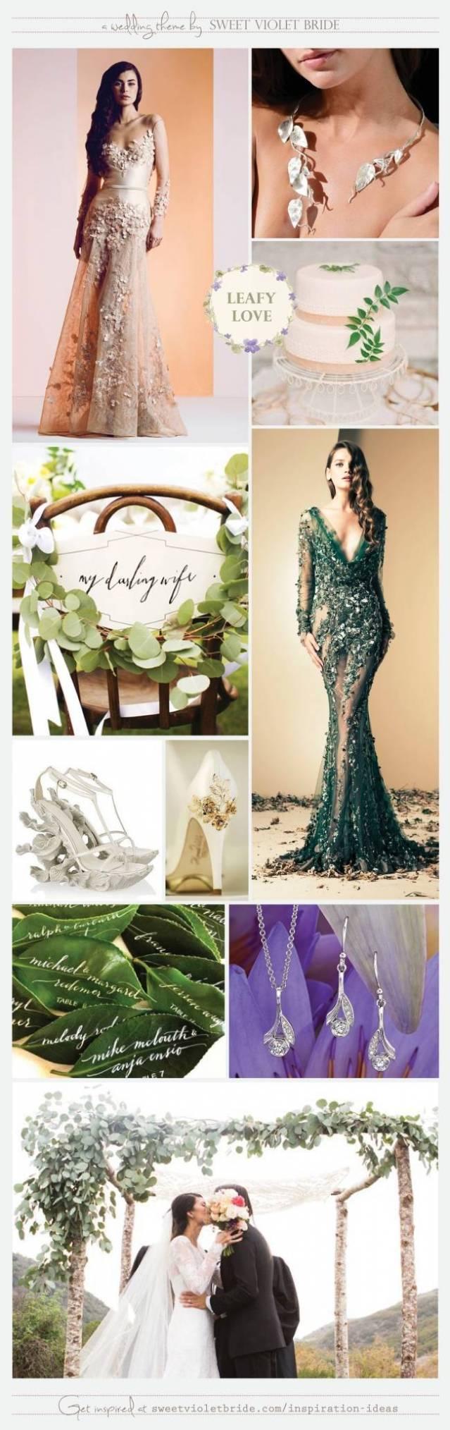 Leafy Love Wedding Theme Board by Sweet Violet Bride - Leaf Leaves
