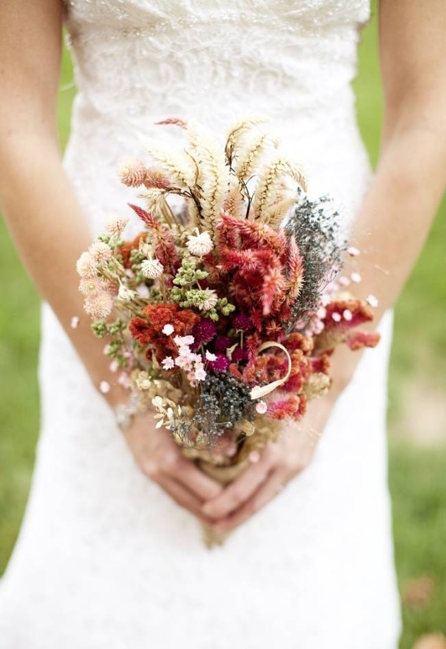 Rustic Dried Flower Wedding Bouquet Inspiration 1