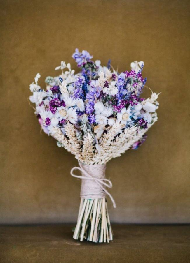 Rustic Dried Flower Wedding Bouquet Inspiration 9