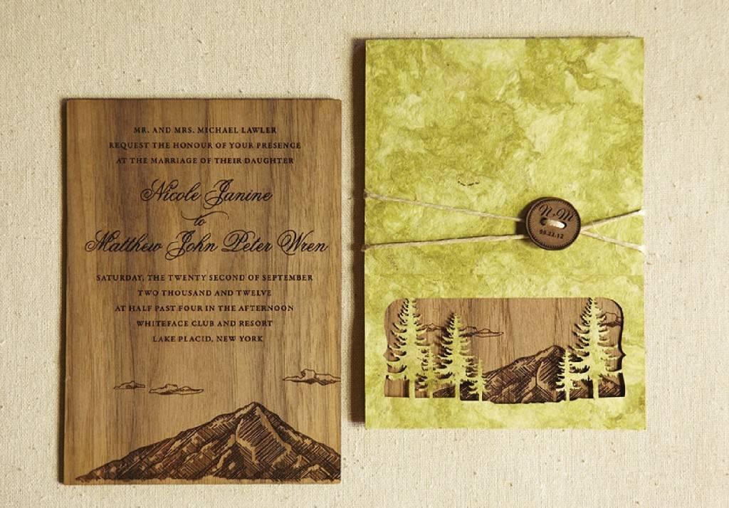 Flourish Letterpress - Engraved Wood Mountain Peak shown on Walnut