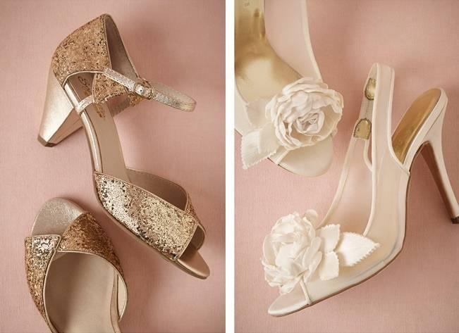Glittering Gold Shoes $120 / Garden Rose Slingbacks $300