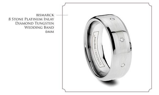 Bismarck - 8 stone diamond platinum inlay tungsten wedding band
