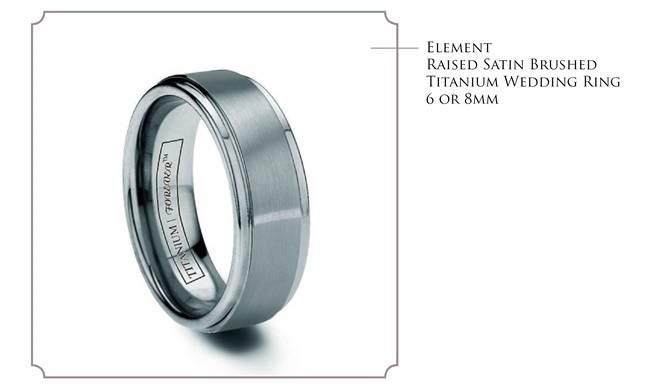 Element - satin brushed titanium wedding band