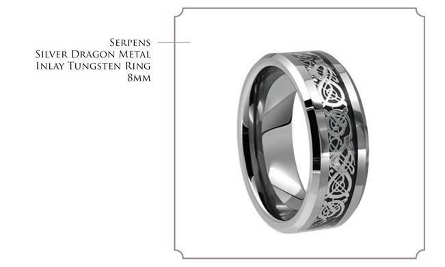 Serpens - Silver Dragon Metal Inlay Tungsten Ring