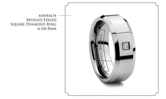 maybach - beveled edge square diamond tungsten wedding band