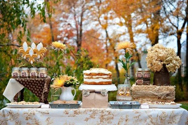 Autumn-Inspired Wedding Dessert Tables