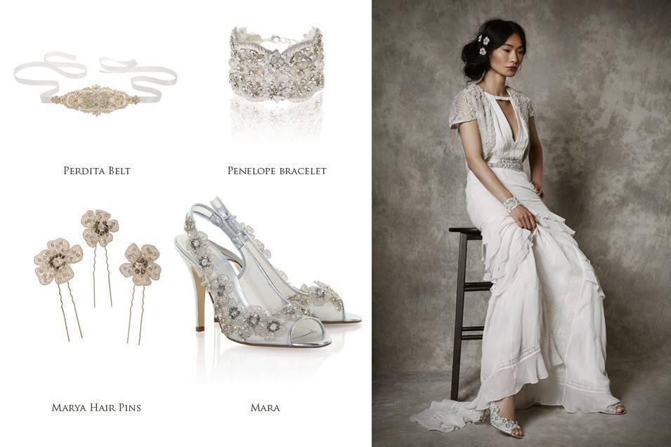 Freya rose Marya Hair Pins, Perdita Belt, Mara shoes