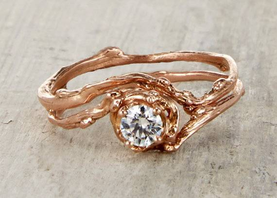 10.5 - $498 Naples White Sapphire Engagement Ring - 14kt Gold - Olivia Ewing