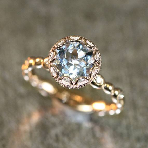 13 - Floral Aquamarine Engagement Ring in 14k Rose Gold Diamond Pebble Ring $798 - LaMoreDesign