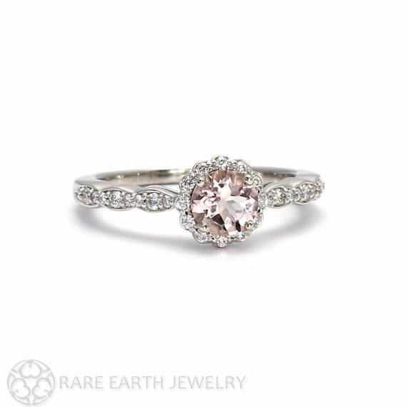 14 - Morganite Engagement Ring Morganite Ring White Sapphire Halo 14K or 18K Gold Custom Wedding Ring $842