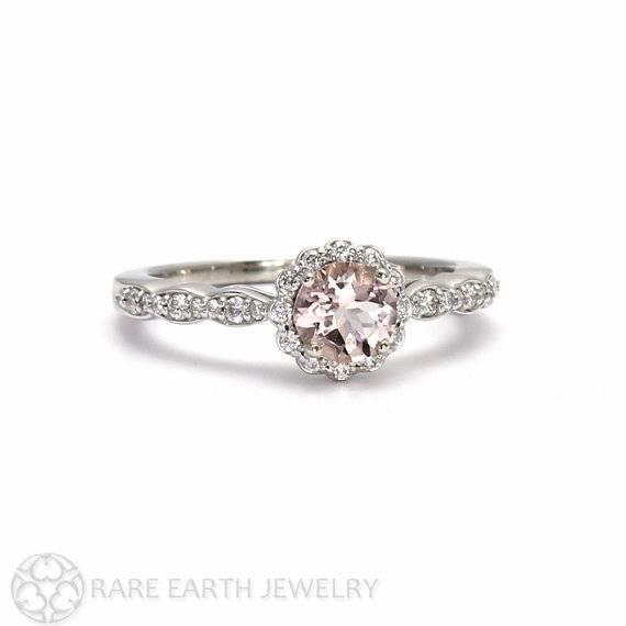 14 – Morganite Engagement Ring Morganite Ring White Sapphire Halo 14K or 18K Gold Custom Wedding Ring $842