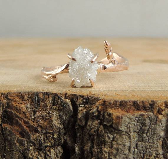 15 – Branch Rough Diamond Engagement Ring, 14k Rose Gold $925 – point no point studio